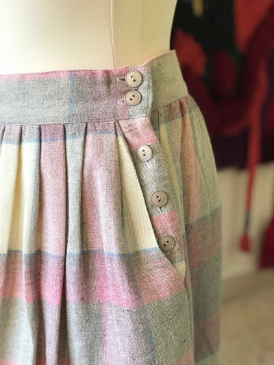 1950s Vintage Cristin Stevens Pink and Blue Plaid Wool Skirt