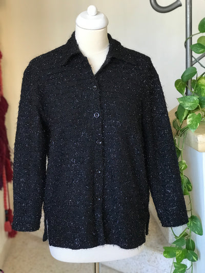 1980s Vintage Sparkly Fuzzy Button Down Shirt