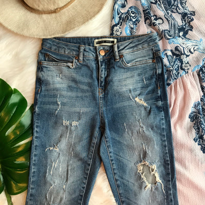Noisy May Distressed Blue Skinny Jeans