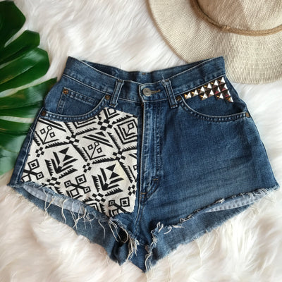 Vintage Handmade Patch and Studs Denim Shorts