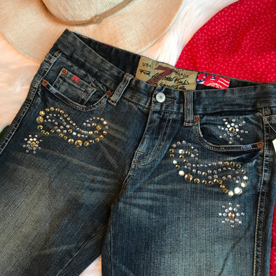 7 For All Mankind Crystal Studded Boot Cut Jeans