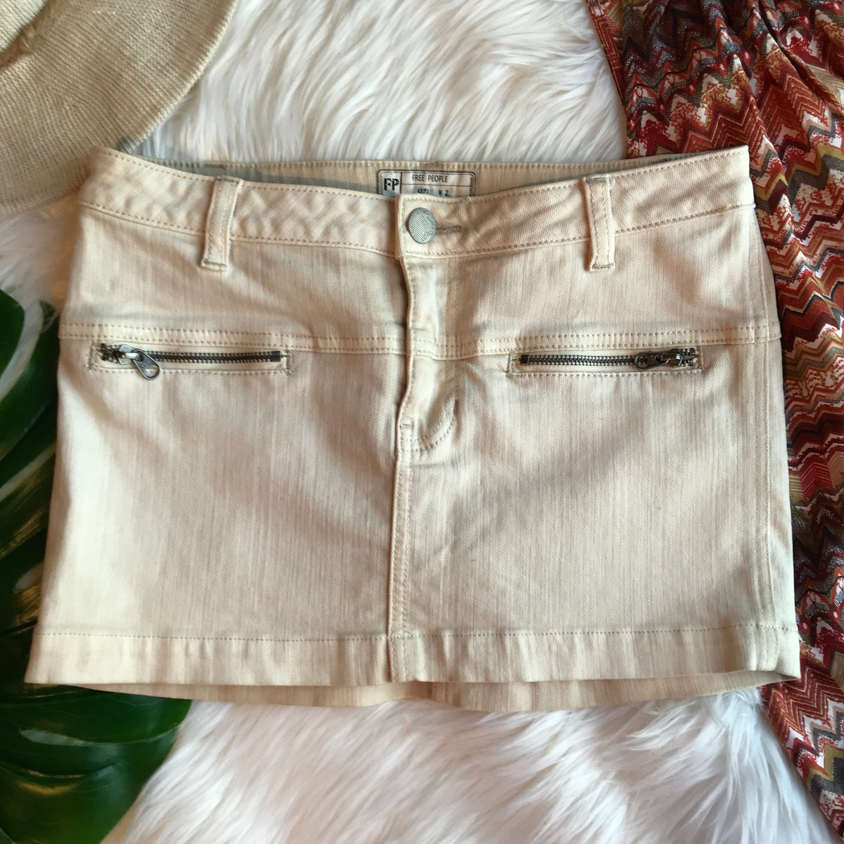 Free People White Mini Denim Skirt