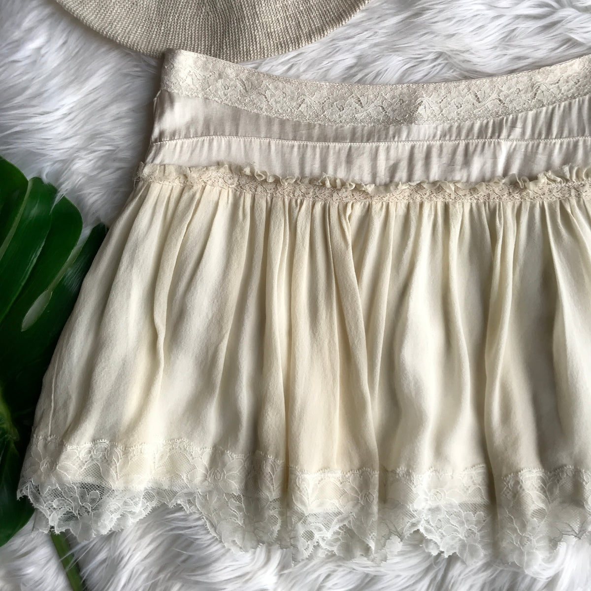 Sandro Lace Silk Tiered White Mini Skirt