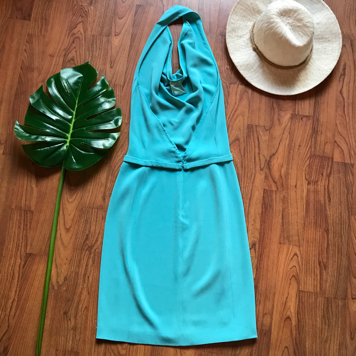 MaxMara Halter Drape Neck Aqua Blue Mini Dress
