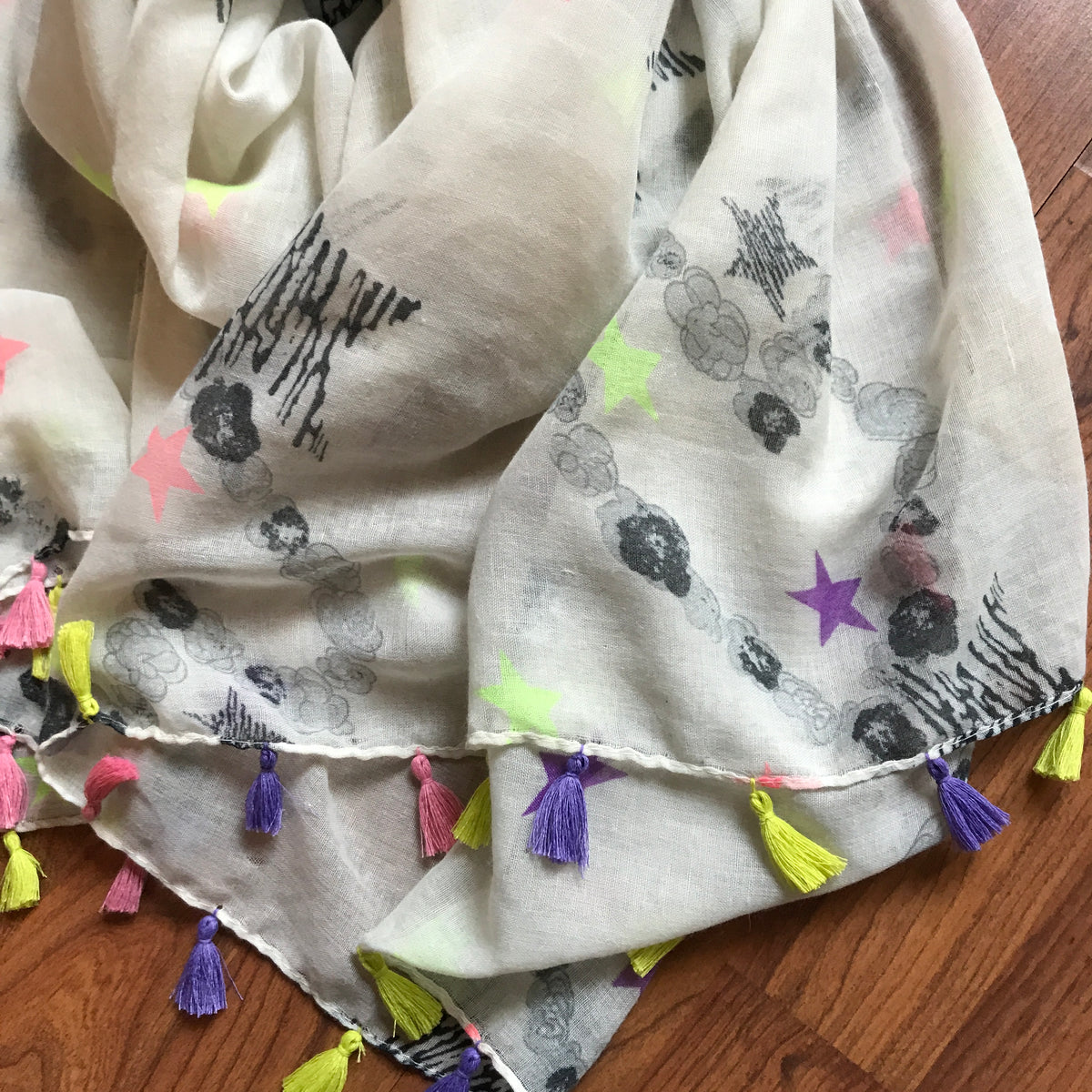 Anthropologie Fluorescent Spaceman Neon Tassel Scarf
