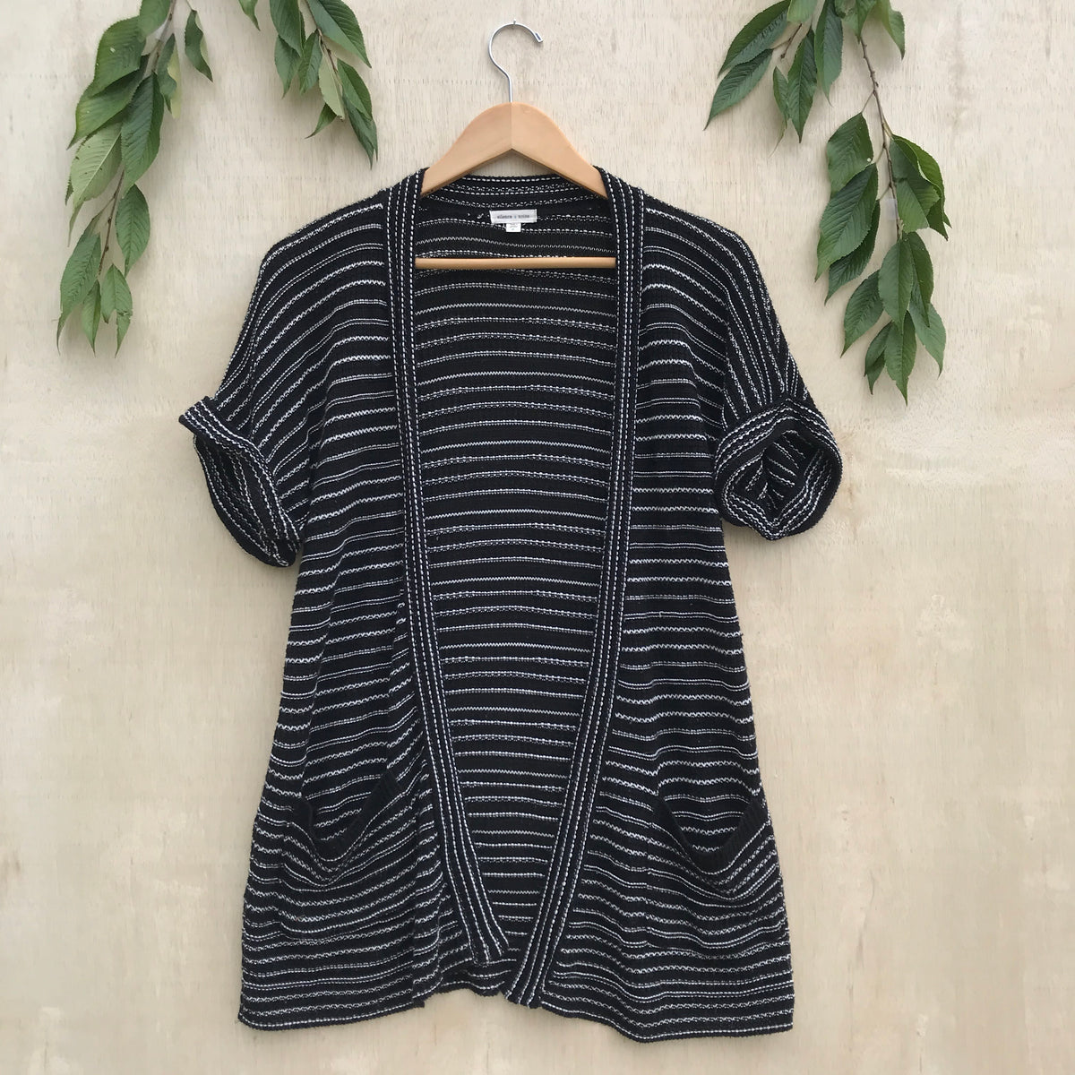 UO Silence + Noise Striped Short Sleeve Cardigan