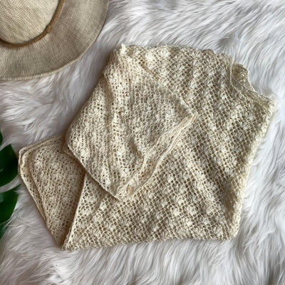 Vintage Knit White Mesh Beach Top