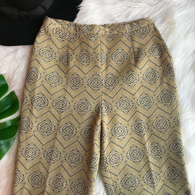 1970s Vintage Sparkly Gold Patterned Cigarette Pants