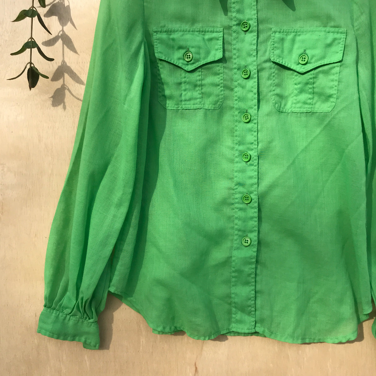 1970s Vintage Parrot Green Button Down Shirt