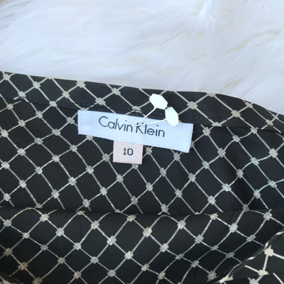 Calvin Klein Patterned Silk Midi Skirt