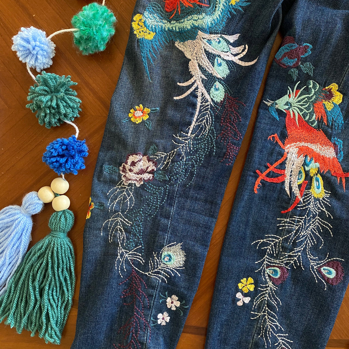 Free People Embroidered Bird Frayed Hem Skinny Jeans