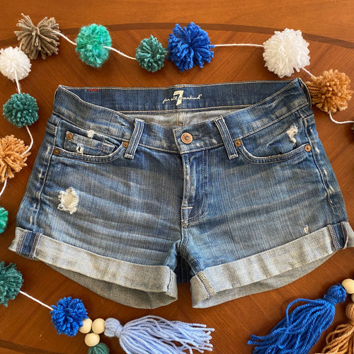 7 For All Mankind Distressed Cuffed Denim Mini Shorts