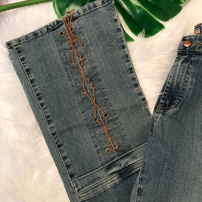 1970's Style Vintage Lace Up Denim Bell Bottoms