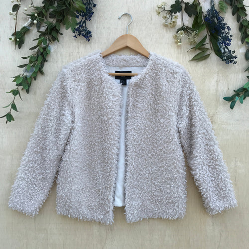 H&M White Fluffy + Fuzzy Cardigan Jacket