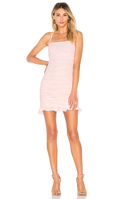 NWT Lovers + Friends Scrunched Amy Pink Mini Dress