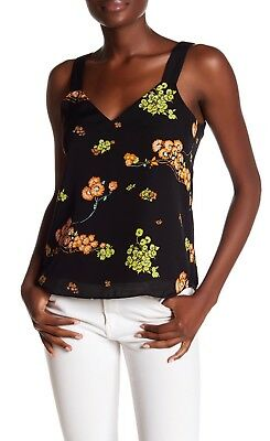 A.L.C. Renne Black Floral Silk Tank Top