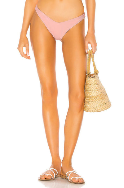 Tularose Ribbed Crescent Bay Candy Pink Bikini Set