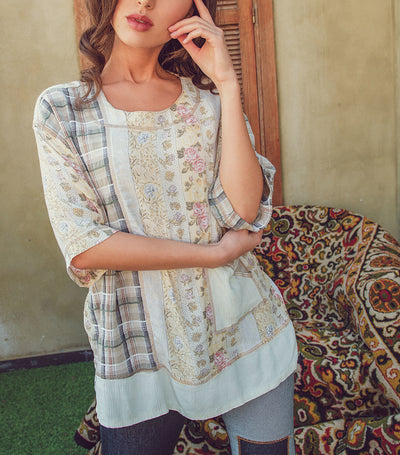 Vintage Patchwork Short Sleeve Summer Pocket Top