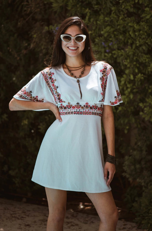 1970's Embroidered Flutter Sleeve Mini Dress