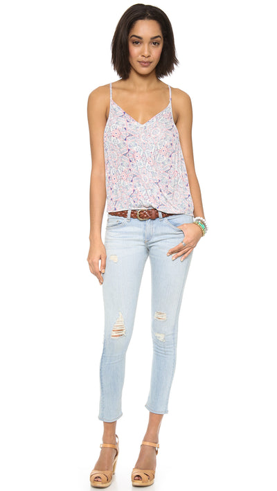 Free People Miles Away Paisley Patterned Lace Cutout Tank