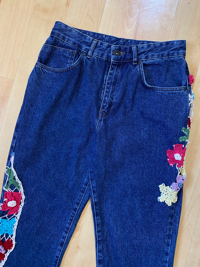 Reworked High-Waisted Floral Embroidered Jeans
