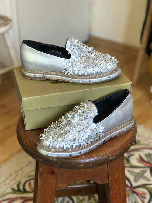 NEW Silver Floral Studded Slide On Sneakers