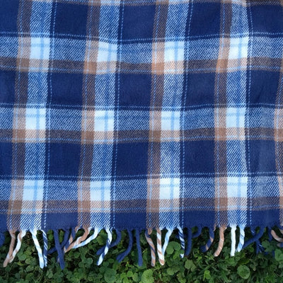 Vintage Faribo Plaid Blanket with Tassels