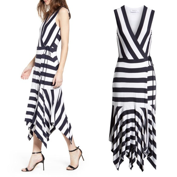 Bailey 44 Alexandria Striped Tie Waist Midi Dress