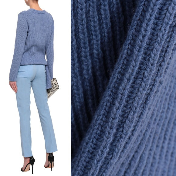 Milly Knotted Ribbed Cotton-Blend Sweater