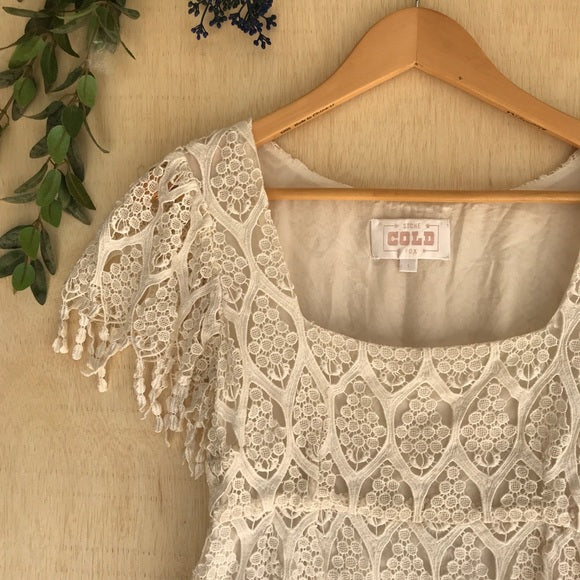 Stone Cold Fox White Lace Lapis Blouse