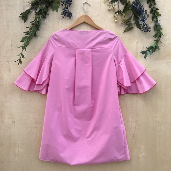 Zara Pink Ruffle Sleeve Dress