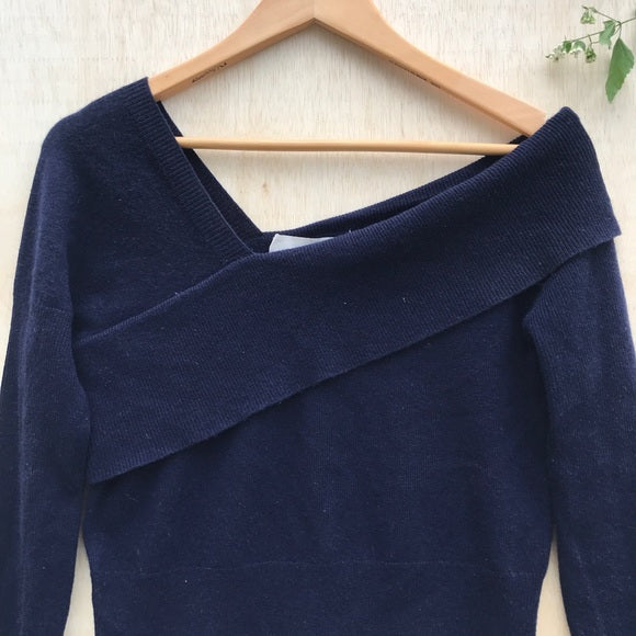 Michelle Mason Asymmetrical Band Sweater in Navy