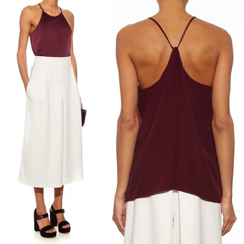 Tibi Purple Satin And Crepe Cami Top