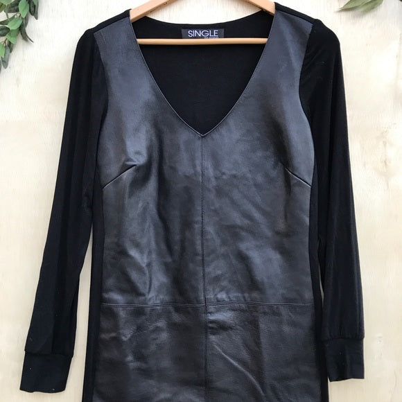 Single Los Angeles Vegan Leather Long Sleeve Dress
