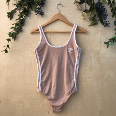 Adidas Side Stripe Beige Open Back Bodysuit