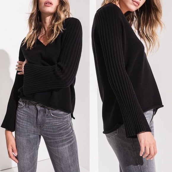 Rag Poets Misty Ribbed Bell Sleeve Pullover