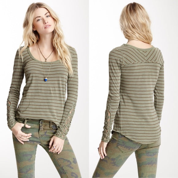 Free People Hard Candy Striped Tuscaloosa Tee in Green