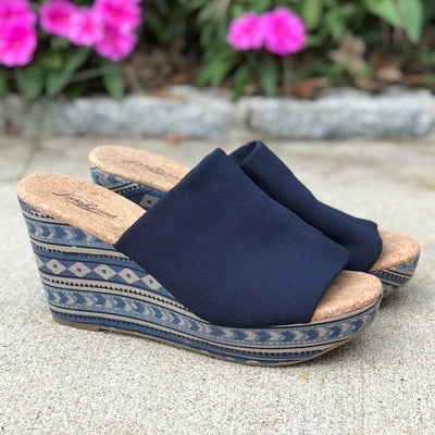 *RARE* Lucky Brand Blue Marilyn Cork Wedge Sandals