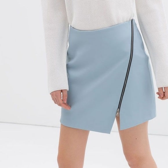 Zara Baby Blue Zipper Pleather Mini Skirt