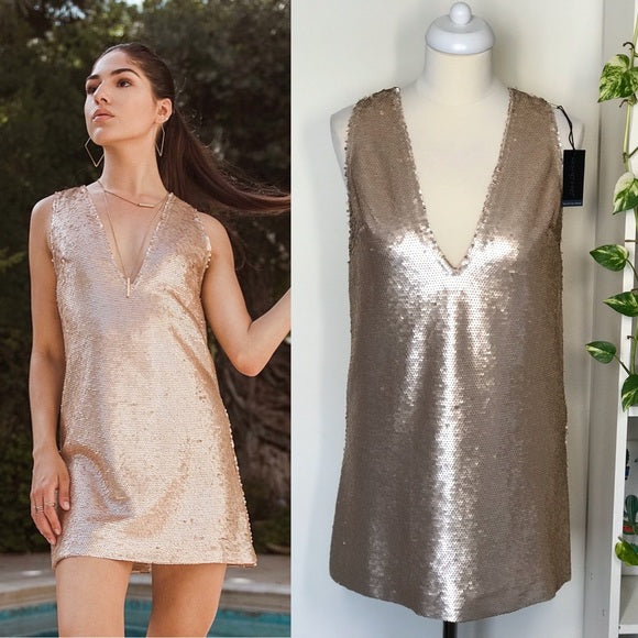 Anthropologie V-Neck Sequin Dress Tunic