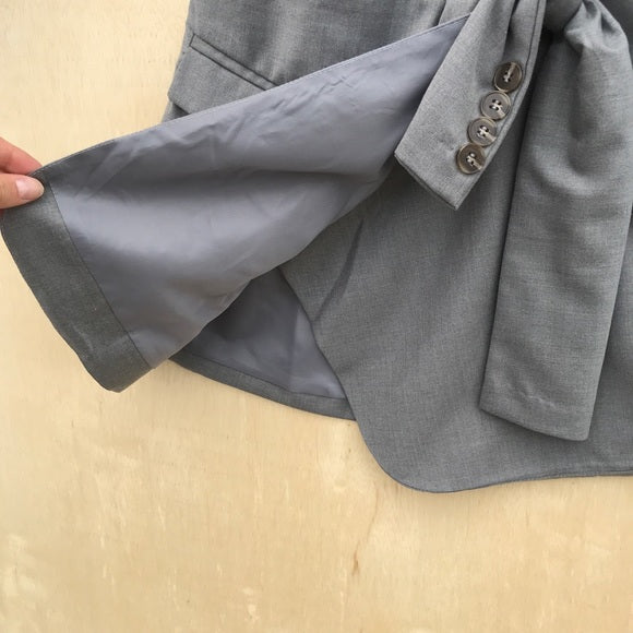Flawsome Gray Upcycled Blazer Tie Skirt