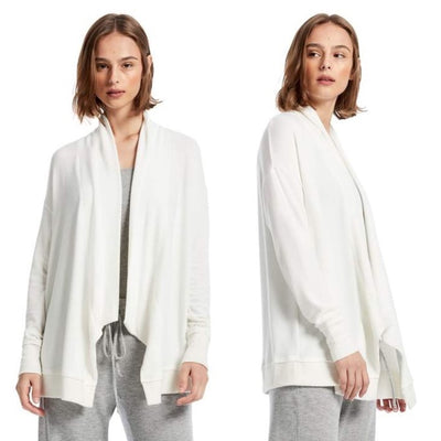 Michael Stars Madison Brushed Jersey Open Front White Cardigan