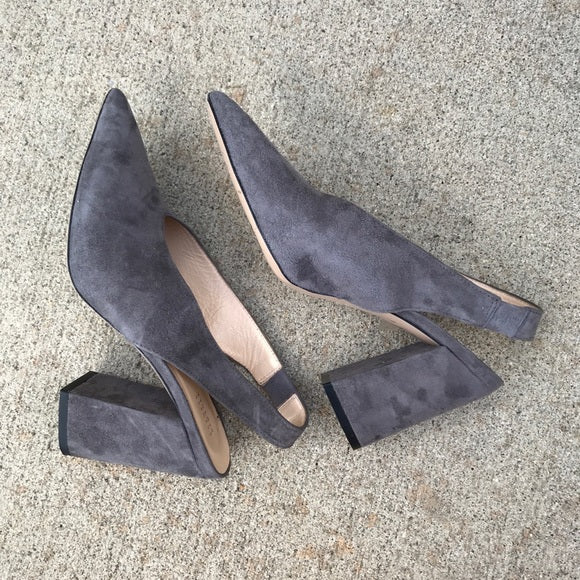 Barneys New York Gray Suede Slingback Pumps