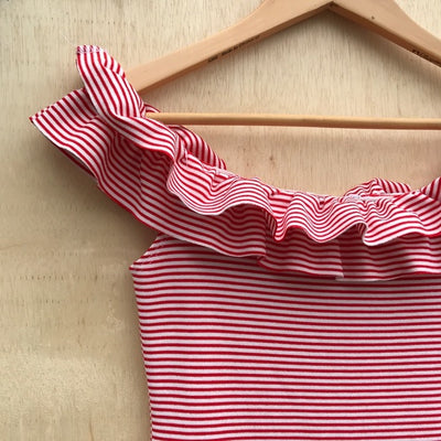 Zara Red and White Stripped Off the Shoulder Dress