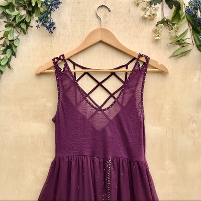 Free People Beaded Strappy Back Tank Top