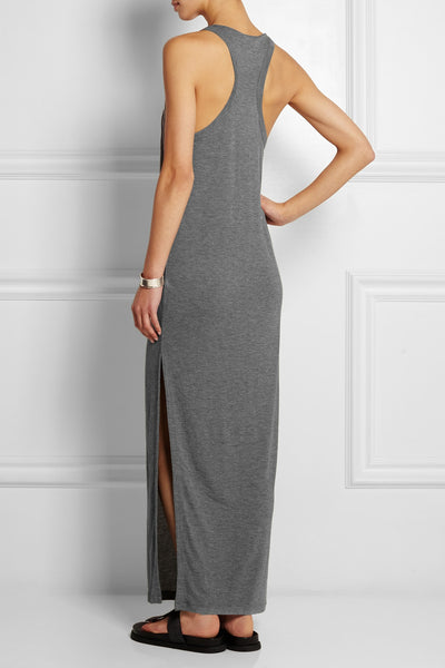Alexander Wang Grey Racerback Jersey Fitted Maxi Dress