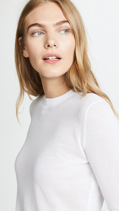 Vince Semi-Sheer Textured 3/4 Sleeve Pullover