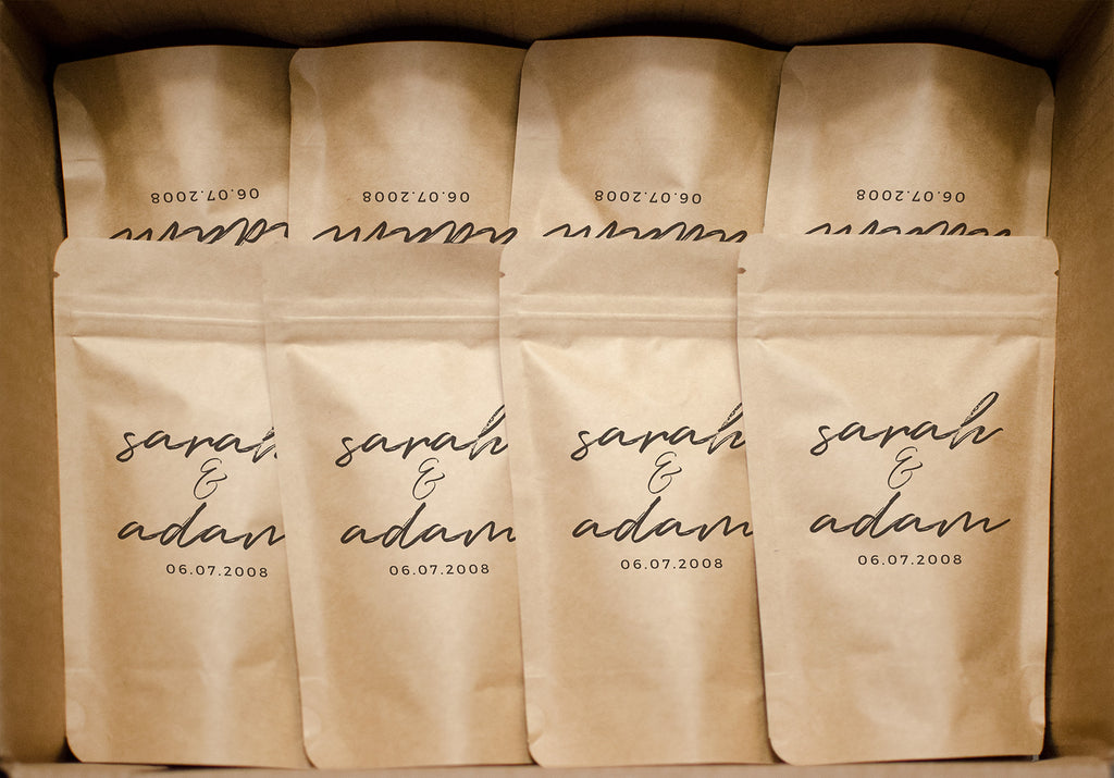 Coffee wedding favors packaged in a box and ready for delivery