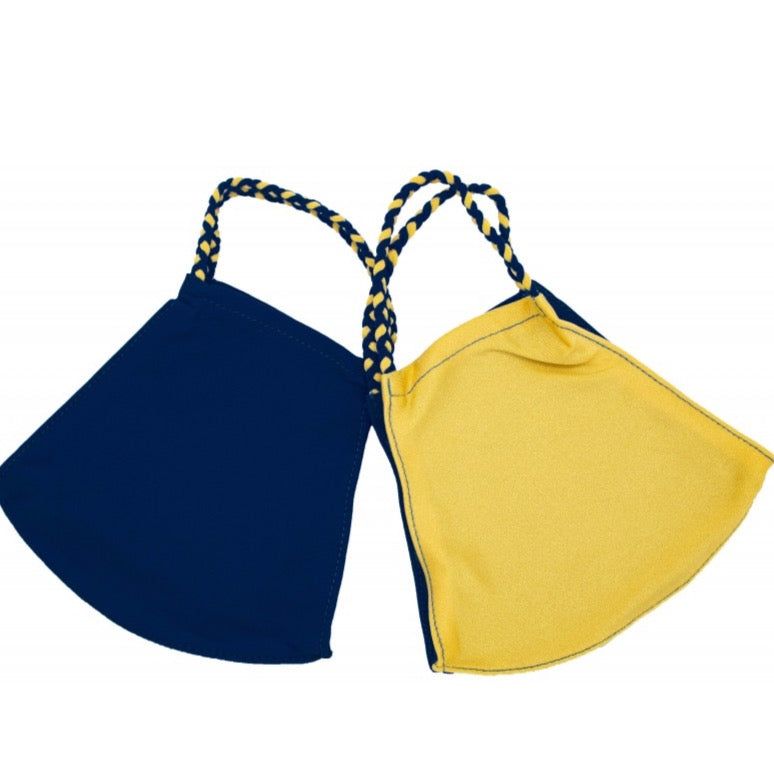 Pom Face Mask 2 Pack - Navy/Sunshine