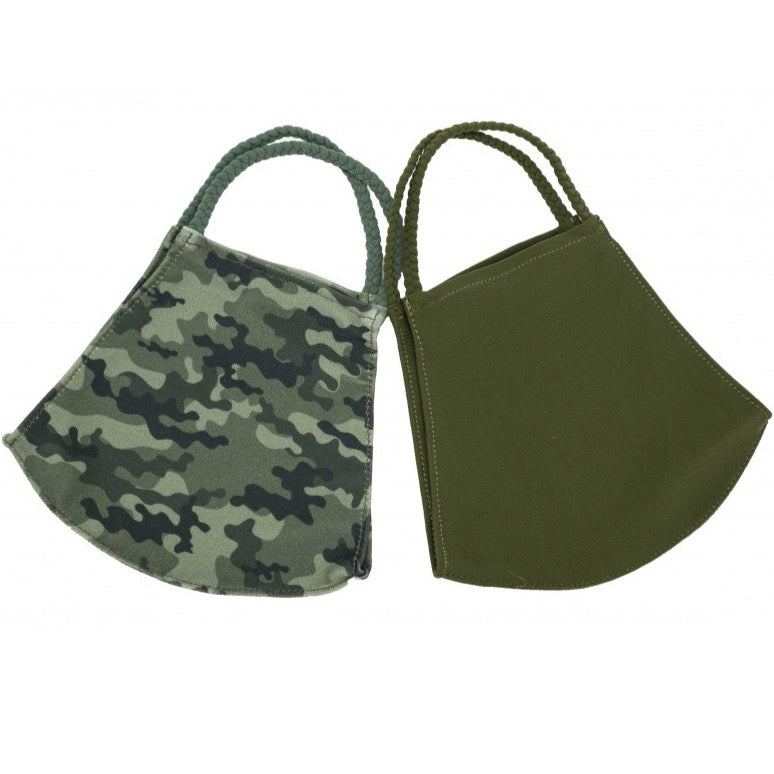 Pom Face Mask 2 Pack - Olive/Camo